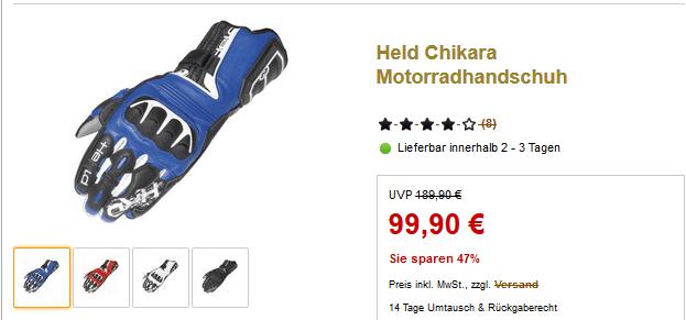 Sie sparen 47% auf Held Chikara Motorradhandschuh