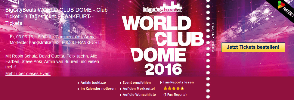 BigCityBeats WORLD CLUB DOME - Club Ticket - 3 Tagesticket FRANKFURT – Tickets ab €146,63