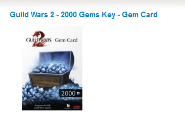 49% Rabatt auf Guild Wars 2 - 2000 Gems Key - Gem Card
