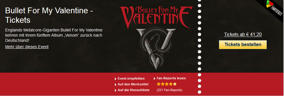 Bullet For My Valentine – Tickets ab 41.20 Euro