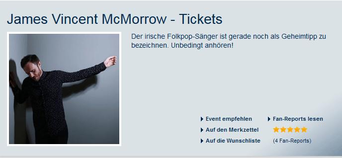 Die Tickets für James Vincent McMorrow zu einem Preis von Fans können Sie bei Eventim auch verkaufen