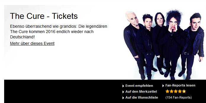 Die Tickets von The Cure ab 47 Euro