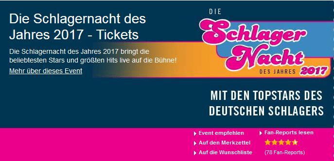 Die Tickets von Die Schlagernacht des Jahres 2017 ab 51 Euro