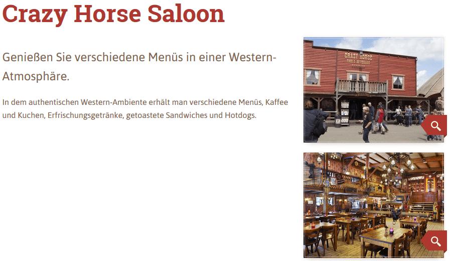 Crazy Horse Saloon hat Kaffee und Kuchen, Erfrischungsgetränke, getoastete Sandwiches und Hotdogs