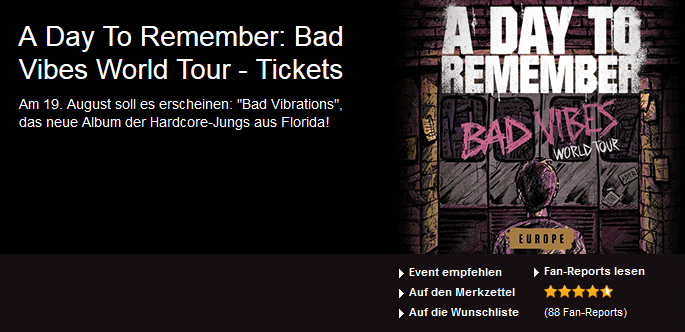 A Day To Remember: Bad Vibes World Tour – Tickets ab 42.30 Euro