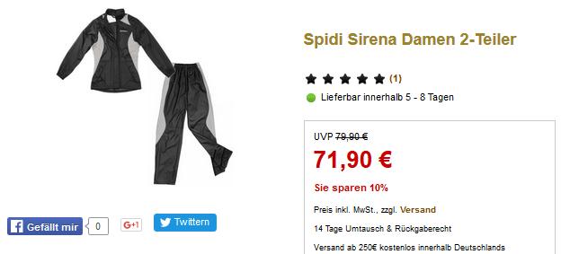 Sparen Sie 10% Rabatt auf Spidi Sirena Damen 2-Teiler im Sale