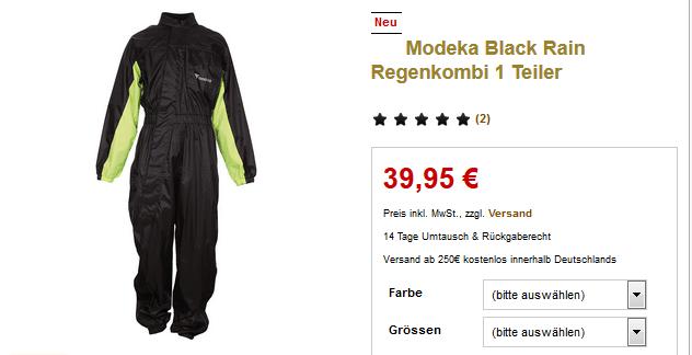 Neue Ware – Modeka Black Rain Regenkombi 1 Teiler nur 39,95 €